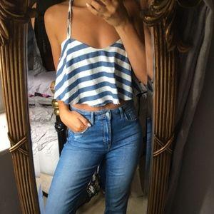 NWT Zara Nautical Striped Cropped Top Blue White